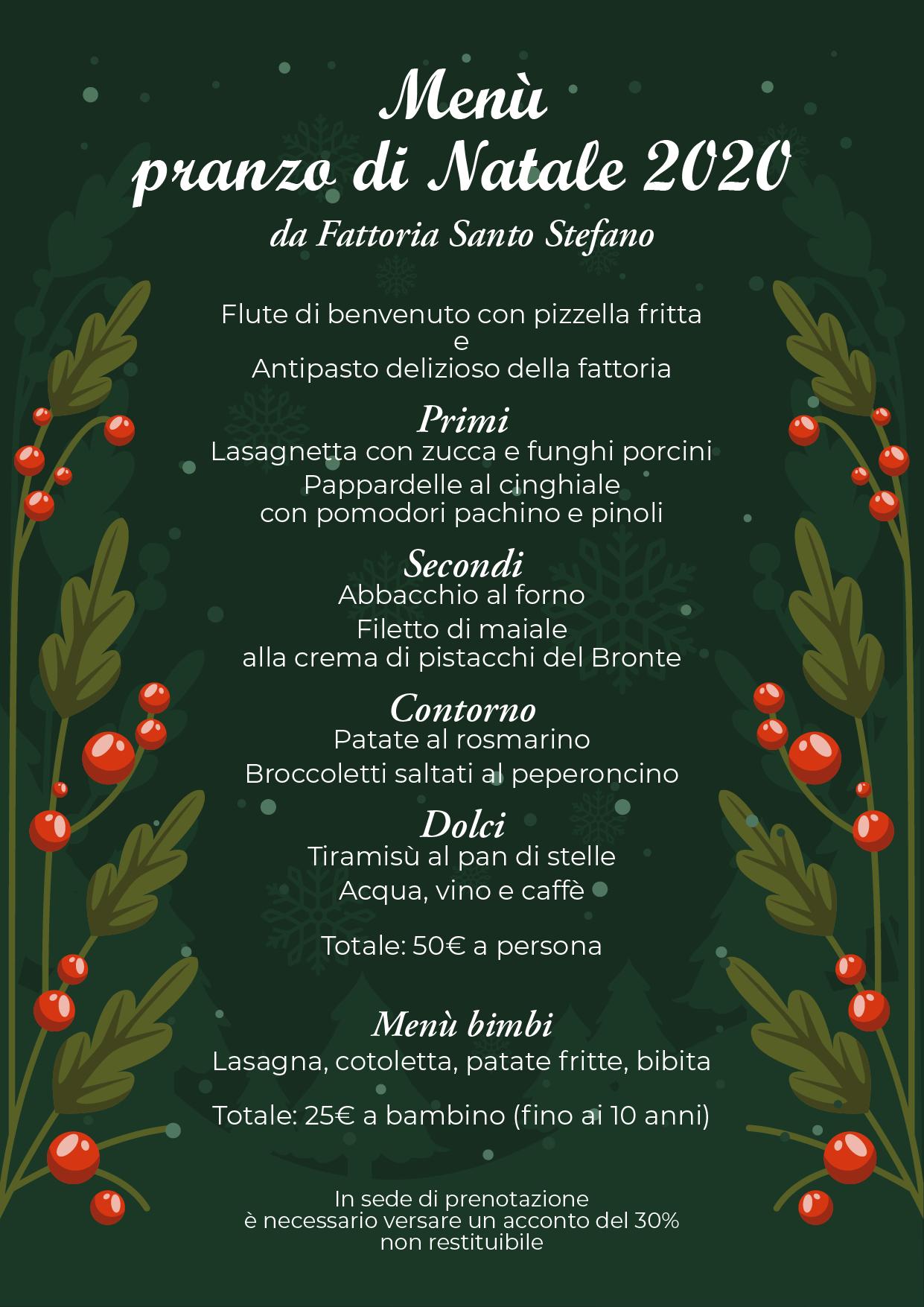menu pranzo natale 2020